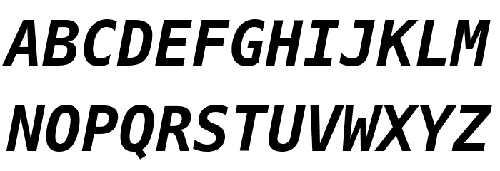 Bitstream Vera Sans Mono Bold Oblique Fuentes MAYÚSCULAS