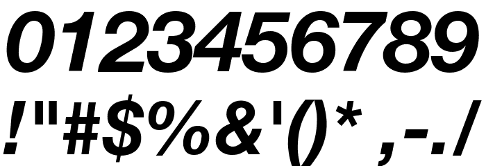 Helvetica Neue Bold Italic Font OTHER CHARS