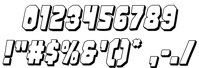 Mindless Brute 3D Italic フォント その他の文字