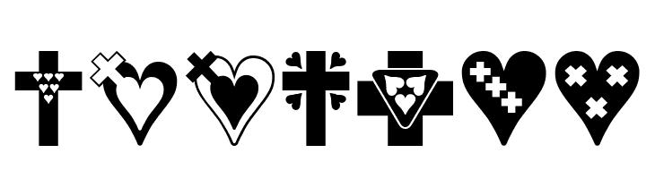ABCDEFG Crosses n Hearts Font